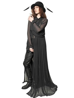 Ann Demeulemeester Pleated Techno Mesh Long Dress