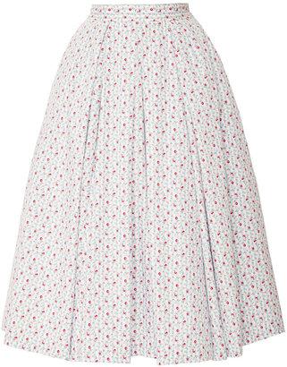 Natasha Zinko Midi Cotton Striped With Florals Skirt