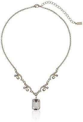 "Swarovski 1928 Jewelry ""Bridal Crystal"" Silver-Tone Crystal Drop Pendant Necklace, 16"""