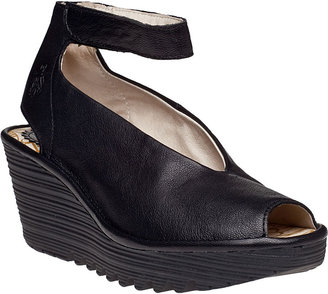 Fly London Yala Wedge Sandal Black Leather