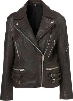 Topshop Double Buckle Leather Jacket