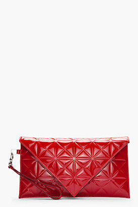 Gareth Pugh Red Patent Leather Triangle-Embossed Envelope Clutch