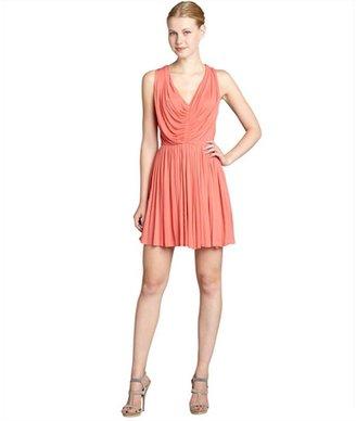 Alexander McQueen pink jersey pleated v-neck dress