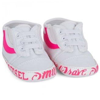 Diesel White Canvas Neon Pink Sneakers