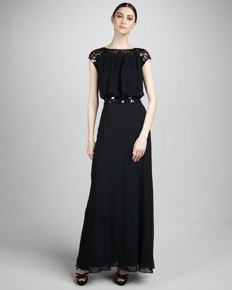Aidan Mattox Cap-Sleeve Beaded Gown