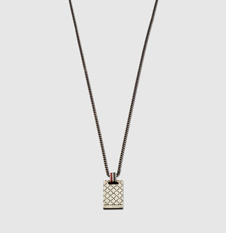 Gucci Necklace With Diamante Pattern Engraved Pendant