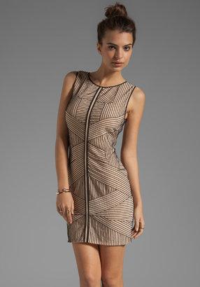 renzo + kai Stripe Beading Silk Dress