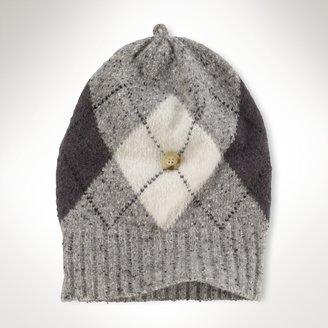 Ralph Lauren Argyle Slouchy Button Hat