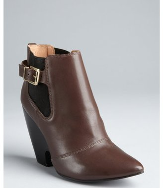 Madison Harding new brown leather notch wedge 'Iris' ankle boots