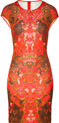 McQ by Alexander McQueen Hot Pink/Brown Printed Stretch Dress