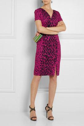 Versace Leopard-print stretch-crepe dress