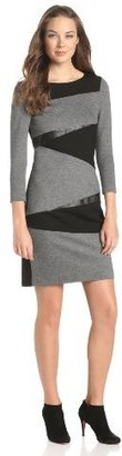 DKNY DKNYC Women's Three-Quarter Sleeve Dress with Faux-Leather and Contrast Back