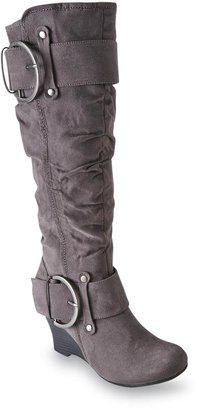 UNIONBAY Women's Marvel Gray Scrunch Wedge Fashion Boot
