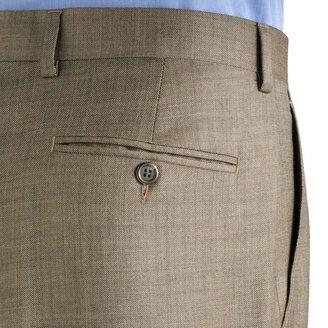 Chaps Big & Tall Sharkskin Wool Flat Front Tan Suit Pants