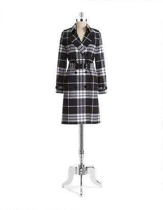 MICHAEL Michael Kors Plaid Trench Coat