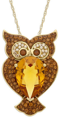Lord & Taylor Gold-Plated Sterling Silver Necklace with Crystal Owl Pendant