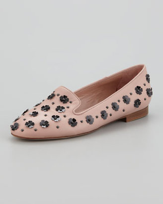 RED Valentino Floral Pailettes Smoking Slipper, Cameo/Black