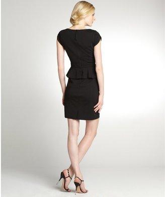 Rebecca Taylor Black Peplum Waist Cap Sleeve Dress