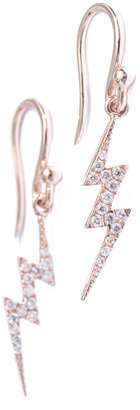 Lightning Bolt Diane Kordas Diamond & rose-gold lightning earrings