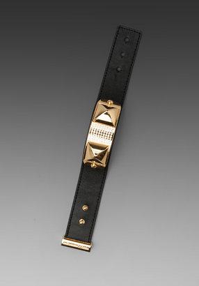 Rebecca Minkoff Small Studded Pave Leather Bracelet in Black/Gold
