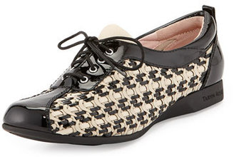 Taryn Rose Trudee Woven Lace-Up Sneaker, Bone/Black $299 thestylecure.com