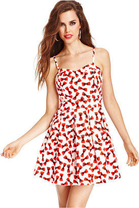 Monroe Marilyn Juniors Dress, Spaghetti-Strap Bow-Print A-Line