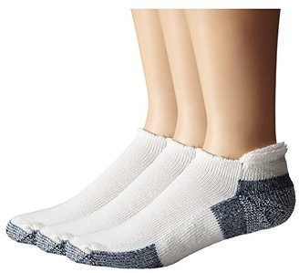 Thorlos Running Rolltop 3-Pair Pack (White/Navy) No Show Socks Shoes