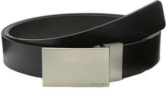 Calvin Klein 32MM Reversible Flat Strap Plaque Buckle w/ Logo (Black Black) Men's Belts