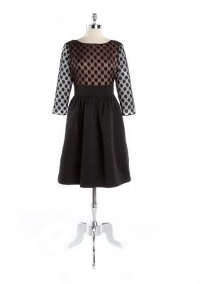 Eliza J Dot Lace Fit-And-Flare Party Dress