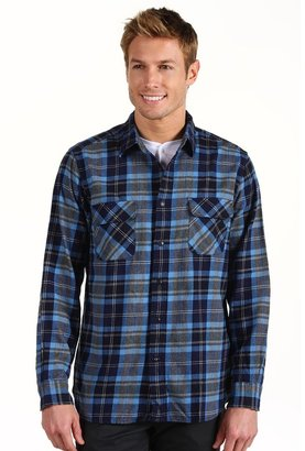 Dockers Classic Fit Casual Flannel Shirt (Newman Peacoat) - Apparel
