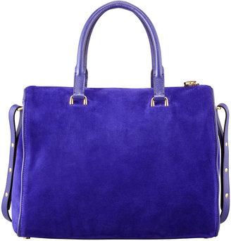 Tom Ford Frea Suede Padlock Satchel Bag, Purple