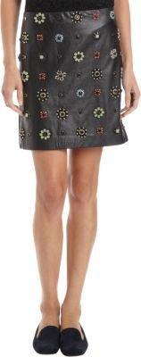 Erdem Floral Jeweled Leather Mini Skirt