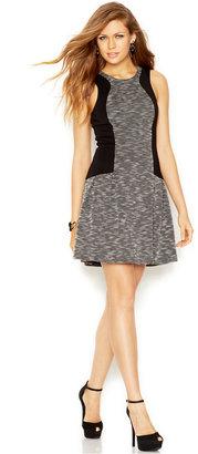GUESS Sleeveless Textured Colorblock Dress