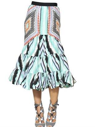 Peter Pilotto Ruffled Printed Silk Cloquet Skirt