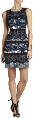BCBGMAXAZRIA Makenna Sleeveless Lace and Print Dress