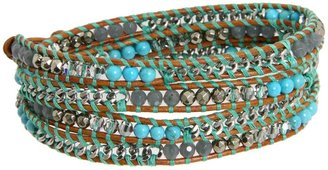 Chan Luu Turquoise Mix Wrap Bracelet with Stones and Chain (Turquoise Mix/Henna) - Jewelry