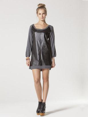 C&C California Cashmere blend faux leather 3⁄4 raglan sleeve dress