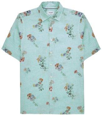 DUCHAMP LONDON Floral Linen Print Shirt Green