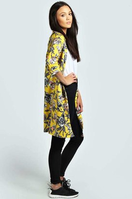 Boohoo Holly Floral Print Longline Duster Coat
