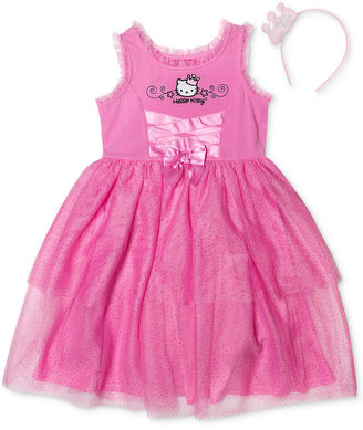 Hello Kitty Girls Dress, Little Girls Let's Play Lace-Up Tulle Dress with Headband