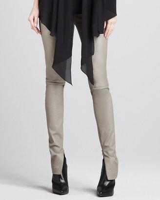 Robert Rodriguez Leather Zipper-Cuff Leggings