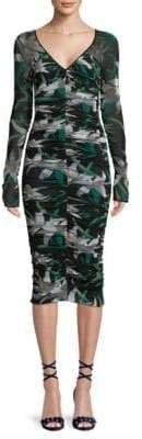 Diane von Furstenberg Mesh Overlay Midi Dress