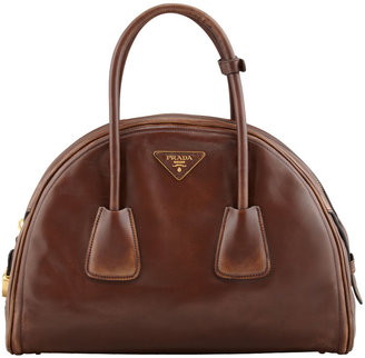 Prada Vintage Vitello Bowler Bag, Brown (Bruciato)