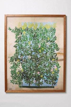 Anthropologie Green Leaves Framed Art
