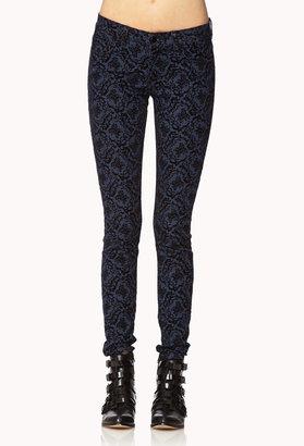 Forever 21 Velveteen Baroque Skinny Jeans