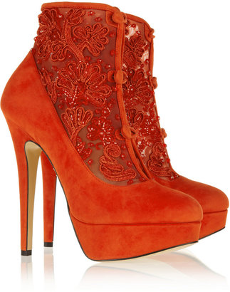 Charlotte Olympia Colombina embellished suede and mesh ankle boots