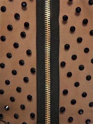 Balmain Black Swarovski Tulle Top
