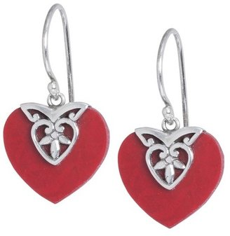 Athra NJ, Inc. Sterling Silver Bali Heart Red Coral Drop Earrings - Silver/Red