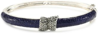 """Judith Jack Exotic"""" Marcasite and Sapphire Ostrich Bangle Bracelet"""