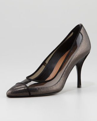 Donald J Pliner Bella Clear-Trim Pointed-Toe Pump, Black/Pewter